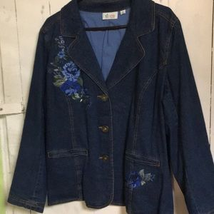 D&CO. Blue Jean Jacket with Floral Embroidered